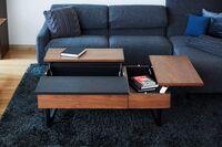 SEI(セイ)リクライニングソファ 天板を上げるとソファに座って作業をしやすい高さに