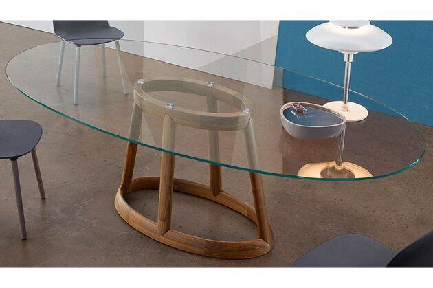 BONALDO(ボナルド) Greeny ダイニングテーブル タイプB(天板ガラス/脚ウォールナット)