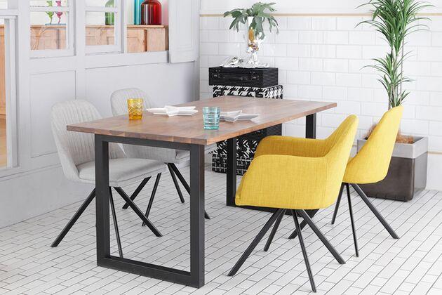 at will(アットウィル)ダイニングテーブル[180cm] 1枚目画像 天板:モザイクウォールナット 脚形状:スチール(Black)