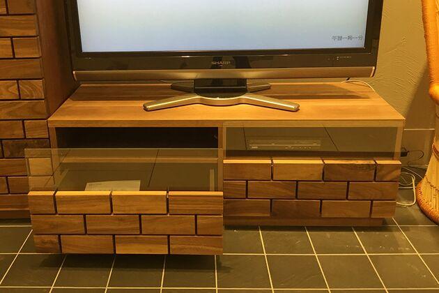 テレビボード サイズ:110TV(クリアガラス)/素材:ウォールナット