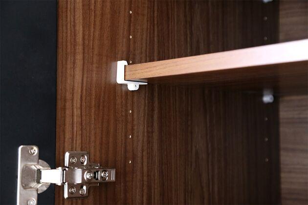 キッチンボード 棚板の落下を防ぐ棚受け金具をご用意
