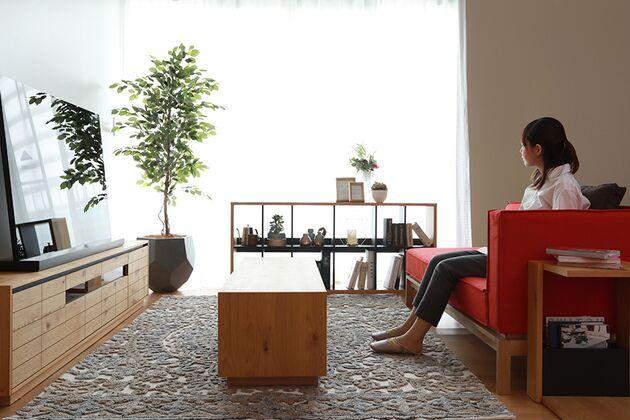 CUDDLE(カドル) テレビボード オレンジのソファを合わせるとより温かみのある雰囲気に