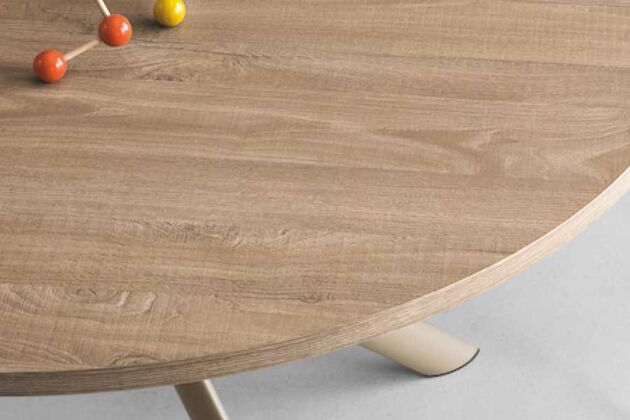 connubia (コヌビア) GIOVE(ジョーべ) 伸長式 円ダイニングテーブル P17W(ヌガー)通常仕様時