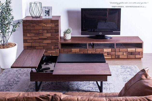 L-DUE(エル-デュエ)ローテーブル 天板下にはリモコンやダブレット、ノートパソコンを収納できます