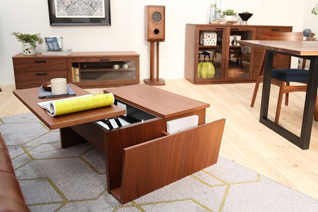 昇降式リビングテーブル 1枚目画像 カラー:ブラウン