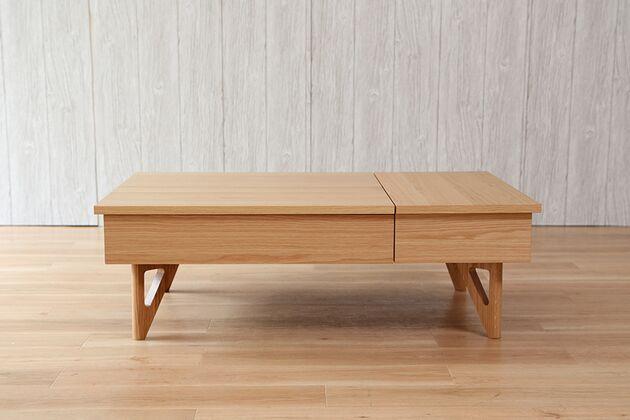 昇降収納付きローテーブル 1枚目画像 カラー:ナチュラル