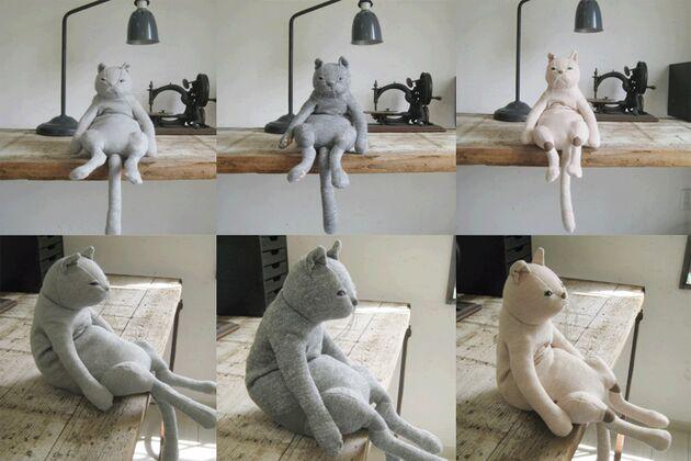 猫ぬいぐるみ 左:グレー / 真ん中:濃グレー / 右:ベージュ