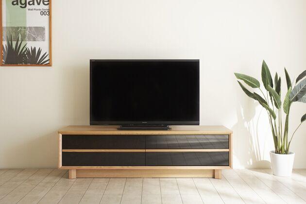 〖24〗グレーガラス テレビボード 140テレビボード / オークナチュラル色