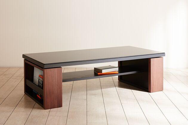 〖24〗ガラス天板 リビングテーブル 1枚目画像 ウォールナット