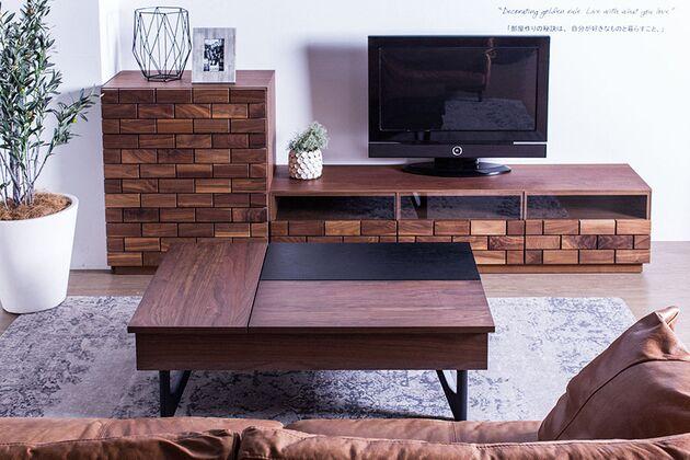 L-DUE(エル-デュエ)ローテーブル 天板の上をスッキリさせることで生活感を感じさせない空間に