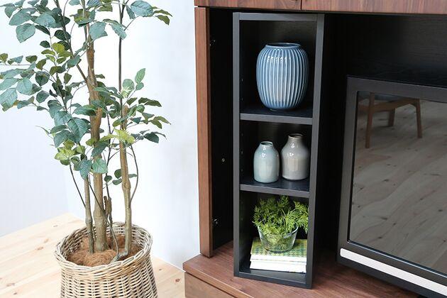 オーダーできるテレビボードユニット TV横の棚は取り外し可能