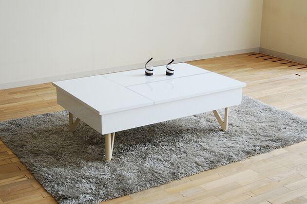 昇降収納付きローテーブル カラー:ホワイト