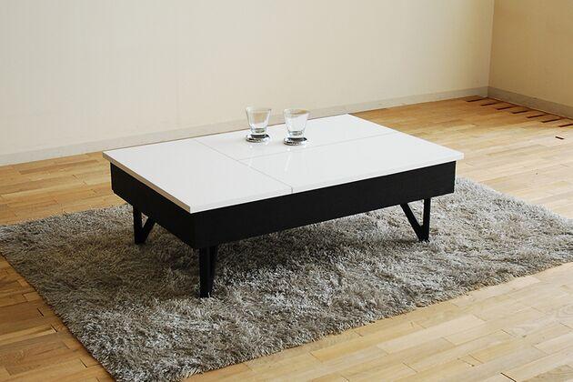 昇降収納付きローテーブル カラー:ホワイト・ブラック