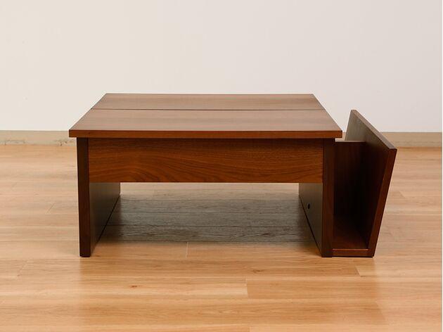 昇降式リビングテーブル カラー:ブラウン
