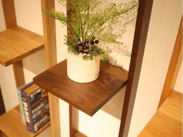 天然木オープンラック 素材:ウォールナット